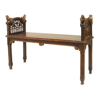 English Gothic Revival Walnut Bench For Sale