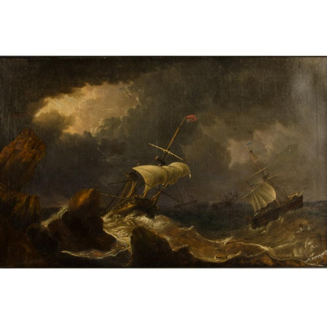 """Black """"Eye of the Storm"""" Contemporary Nautical Oil Painting, Framed For Sale - Image 8 of 13"""