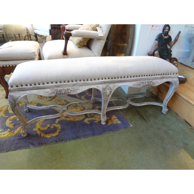 French Louis XIV Style Painted Bench For Sale - Image 7 of 8