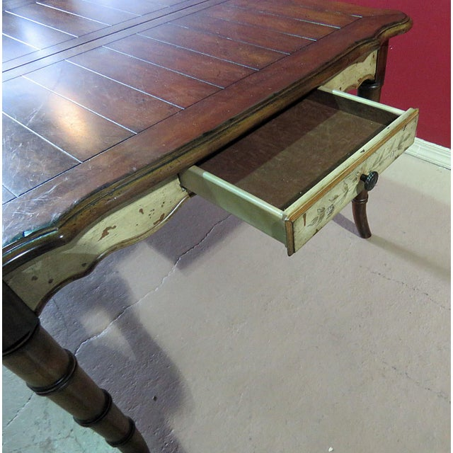 Paint 20th Century Chippendale Faux Bamboo Dining Room Table For Sale - Image 7 of 9