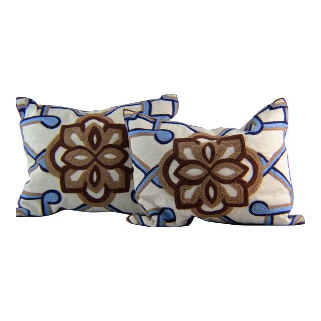 Kim Seybert Crewel Embroidered Throw Pillows - A Pair For Sale