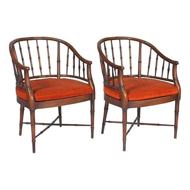 Bamboo Chairs & Orange Cushions - Pair - Image 5 of 5