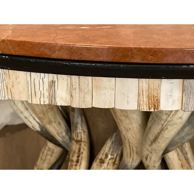 Wood Contemporary Table With Marble Top and Horns Base Signed by Anthony Redmile For Sale - Image 7 of 8