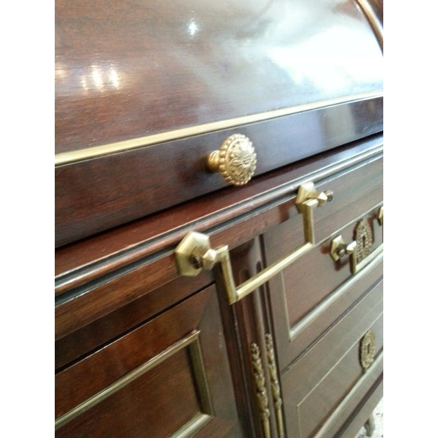 French Directiore Style Mahogany Roll Top Desk For Sale - Image 10 of 13