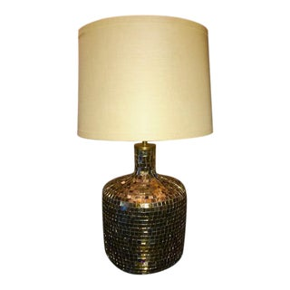 Mid-Century Modern Anthropologie Gold Glass Mosaic Tile Table Lamp