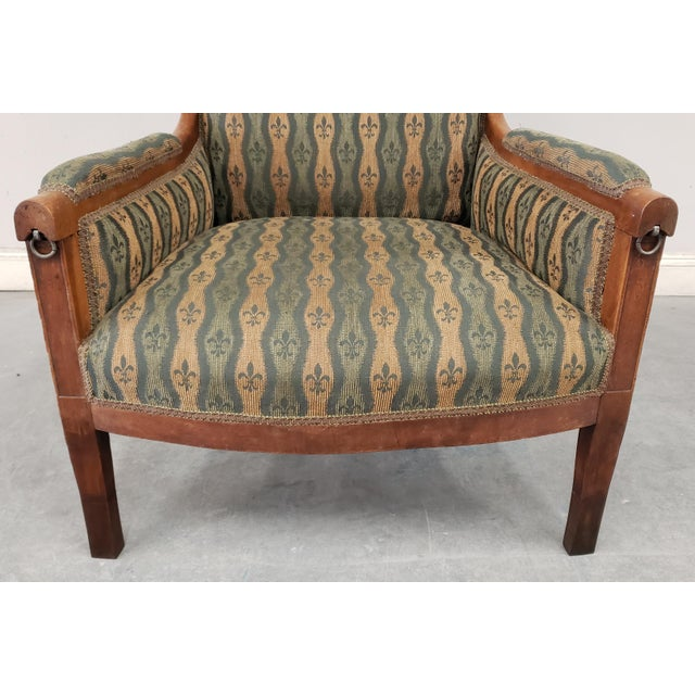 Early 20th Century French Country Provincial Upholstered Maple Wood Wingback Armchair For Sale - Image 4 of 9