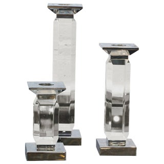 Trio of Staggered Height Candlestick in Lucite & Nickel by Charles Hollis Jones For Sale