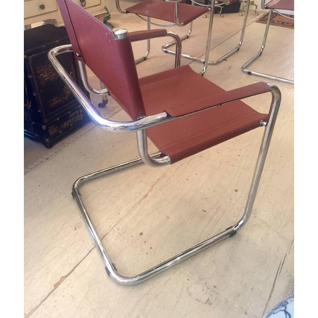 Cognac Leather and Chrome Armchairs - Set of 4 - Image 6 of 7
