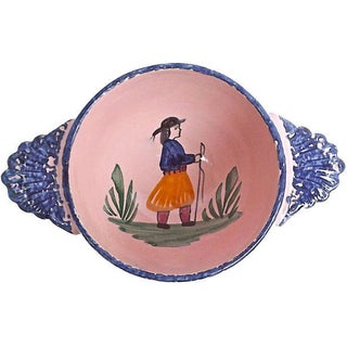 Antique Henriot Quimper Pink Ceramic Bowl For Sale
