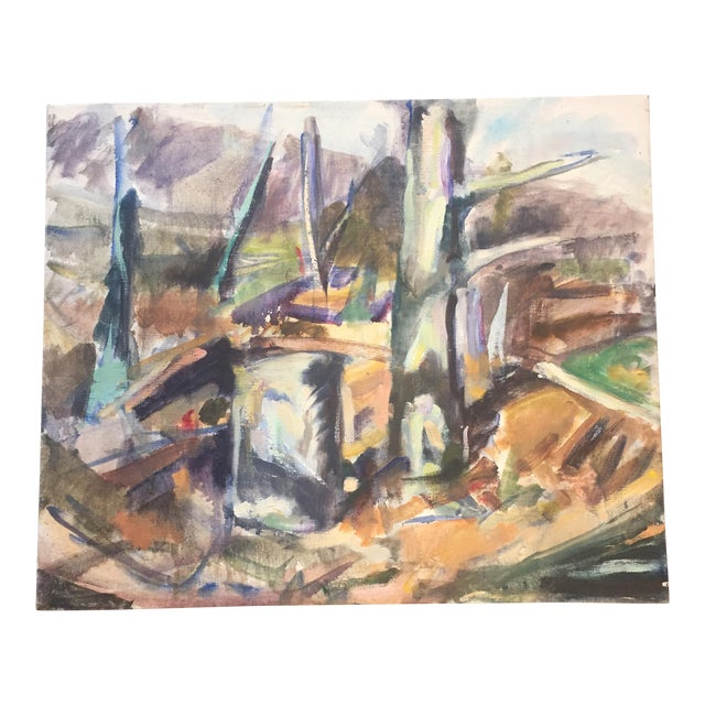 Vintage Original Abstract Landscape Painting For Sale