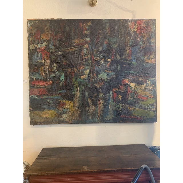 "1960s Vintage Joo-Yon Ohm Ceerderberg ""Midnight Fire"" Large Abstract Painting For Sale - Image 9 of 9"