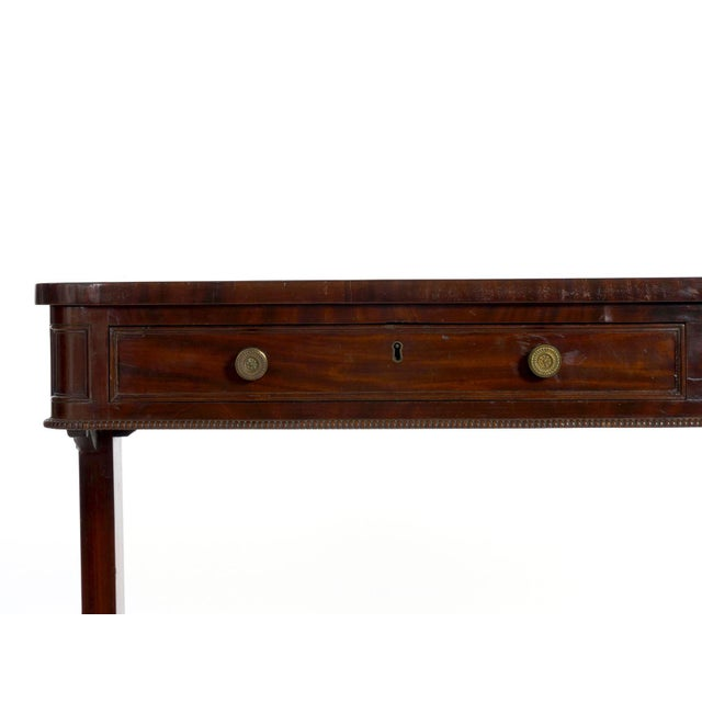 Metal 19th Century English George IV Antique Writing Table Desk W/ Leather Top For Sale - Image 7 of 13