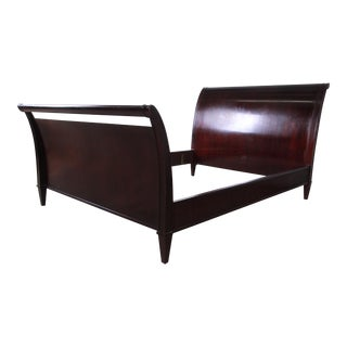 Barbara Barry for Baker Furniture Dark Mahogany Queen Sleigh Bed For Sale