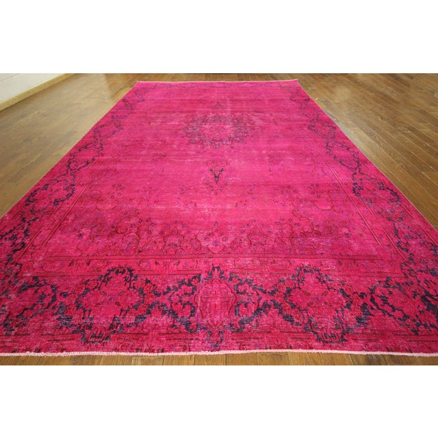 """Pink Overdyed Oriental Floral Rug - 9'6"""" x 14'10"""" - Image 3 of 10"""