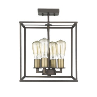 Brooklyn 4 Light Semi-Flush Ceiling, Oiled Bronze and Antique Brass For Sale