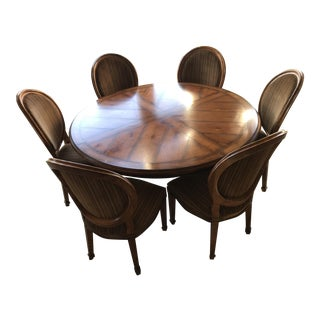 Henredon Artisan Urn Pedestal Dining Table and Six Matching Chairs For Sale