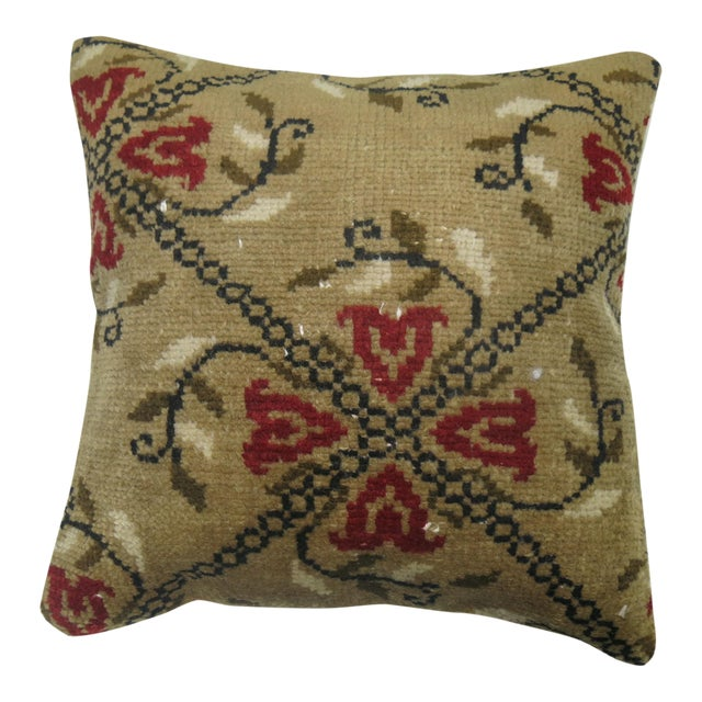 Mid 20th Century Floral Karabagh Rug Pillow For Sale