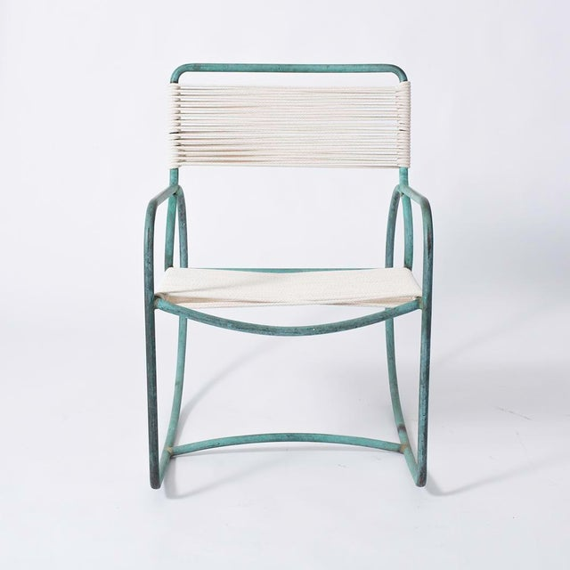Single Walter Lamb Bronze and Rope Patio Rocking Chair - Image 2 of 5