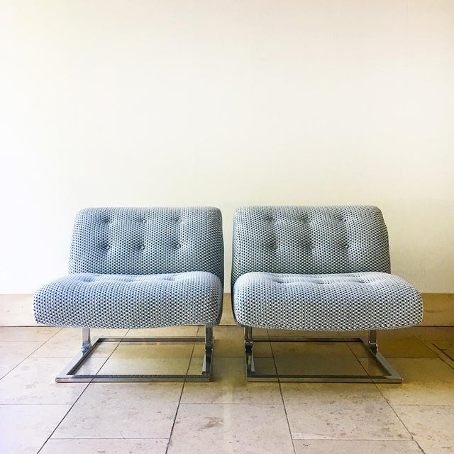 Pair of Cantilever Nickel Plated Steel Framed Lounge Chairs 1960s For Sale - Image 9 of 9
