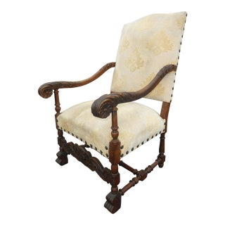 Antique French White Ornately Carved Throne Accent Chair W Clavos Spanish Style For Sale