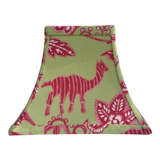 Tropical Green Hot Pink Thibaut Fabric Lampshade For Sale