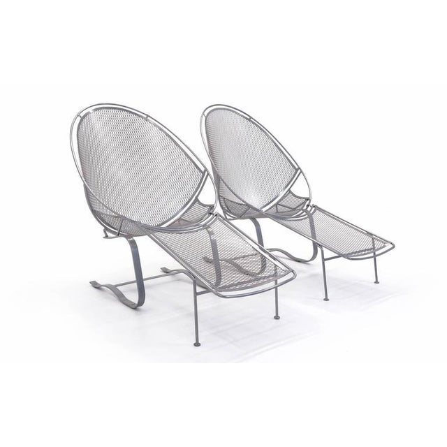 Outdoor / pool high back lounge chairs on Springer base, with removable footrests/ottomans, designed for John Salterini...