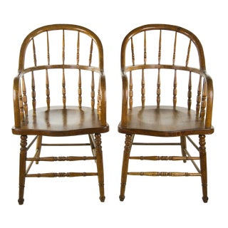 American Courthouse Roundback Windsor Chairs - A Pair