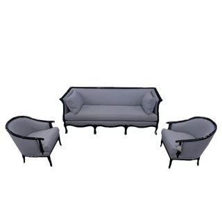 Modern Black Bamboo and Grey Linen Restored Henredon Couch and Arm Chair Set For Sale