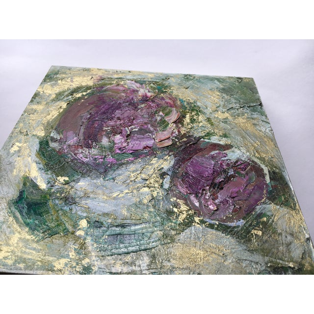 Botanical abstract painting on birch wood panel, wired in back and ready to hang. This oil painting features flecks of...