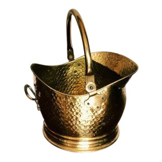 Vintage Hollywood Regency Hammered Brass Bucket For Sale