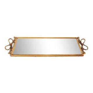 Mid Century Maitland Smith Style Gold Tassel Mirrored Vanity Tray For Sale