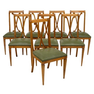 French Directoire Style Cherry Wood Dining Chairs - Set of 8 For Sale