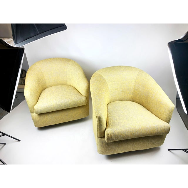 Gold 1980s Newly Reupholstered Champagne Gold Swivel Lounge Chairs For Sale - Image 8 of 9