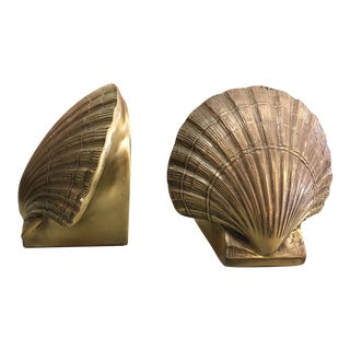 1980s Boho Chic Brass Seashell Bookends - a Pair