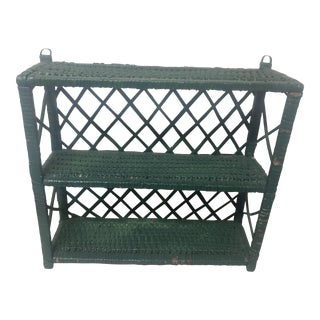 Vintage Green Wicker Shelf
