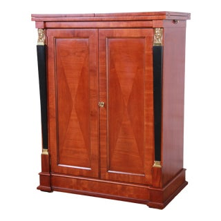 Baker Furniture Palladian Collection Cherry Wood Neoclassical Bar Cabinet For Sale