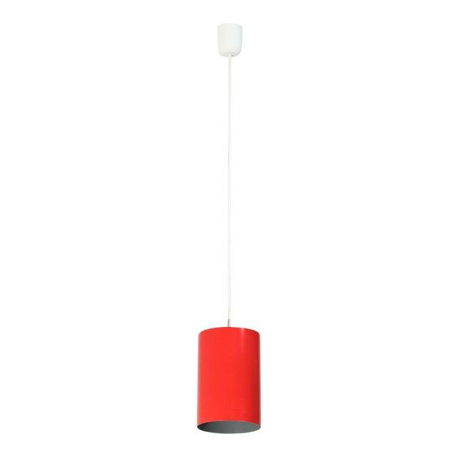 Louis Poulsen set of 8 Minimalist Pendants in Red, Denmark, 1960s For Sale