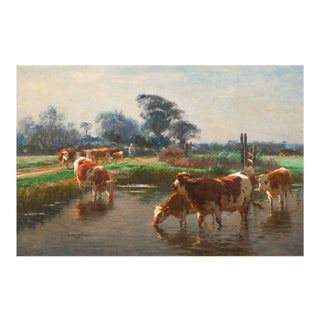Barbizon Painting of Cows Drinking by Léon Barillot (French, 1844-1929) For Sale