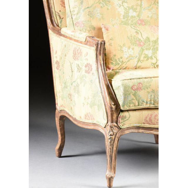 Textile Louis XV Style Bergere & Footstool For Sale - Image 7 of 8