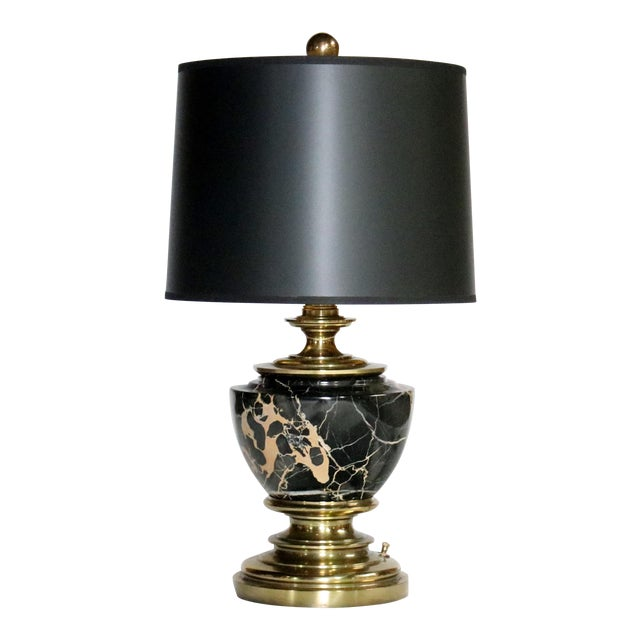 Stiffel Marble and Brass Table Lamp For Sale