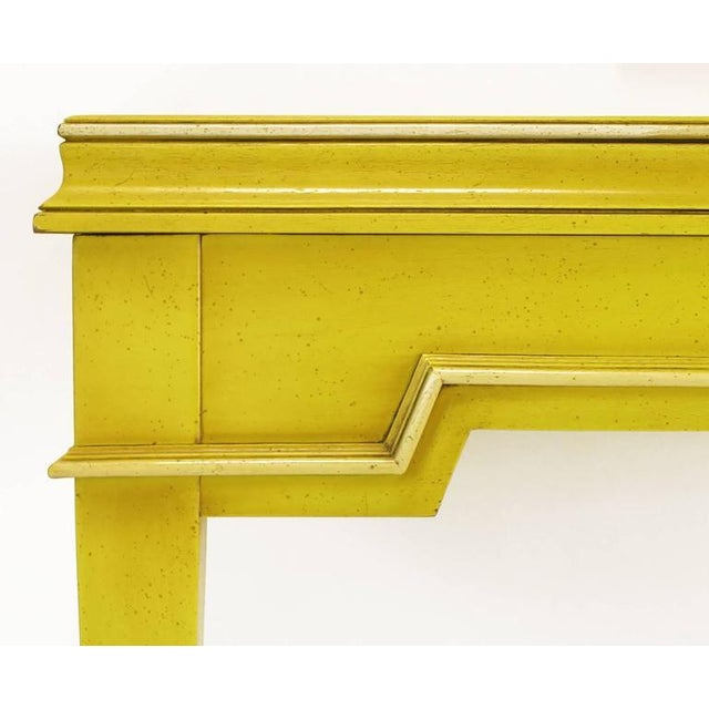 1960s Empire Style Console and Mirror in Glazed Yellow Lacquer For Sale - Image 5 of 10