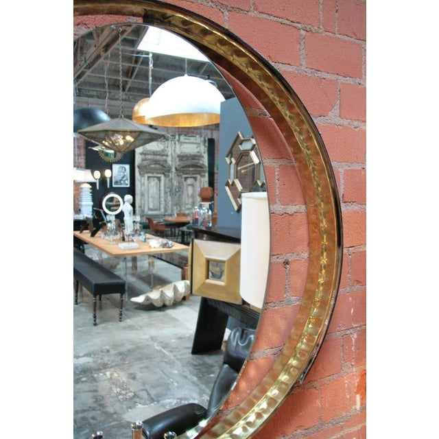 Italian Mirror with Wood and Brass Frame For Sale - Image 4 of 7