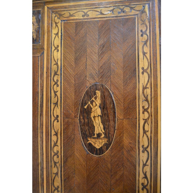Italian Neoclassical Style Inlaid 19th Century Walnut Side Tables - A Pair For Sale - Image 5 of 8