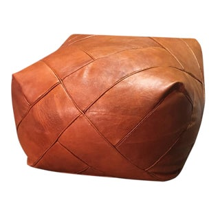 ZigZa Pouf by Mpw Plaza, Brown (Stuffed), Moroccan Leather Pouf Ottoman For Sale
