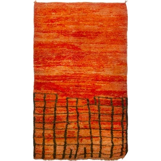Contemporary Moroccan Berber Orange Wool Pile Rug - 4′2″ × 7′ For Sale