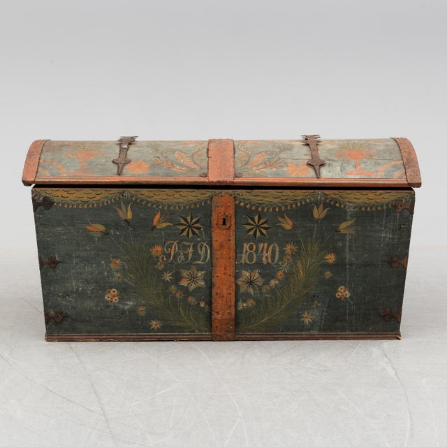 Antique Swedish wedding chest (used to store blankets etc for the married couple) Hand painted floral detail with the...
