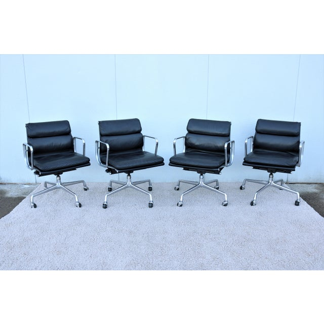 Black Vintage Mid-Century Modern Herman Miller Eames Soft Pad Black Management Chair For Sale - Image 8 of 13