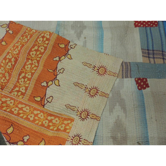 Vintage Orange and Red Hand Quilted Indian Throw For Sale In Miami - Image 6 of 8
