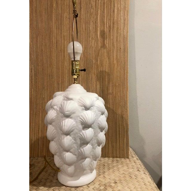Hollywood Regency Vintage Clam Shell Plaster Lamp For Sale - Image 3 of 6