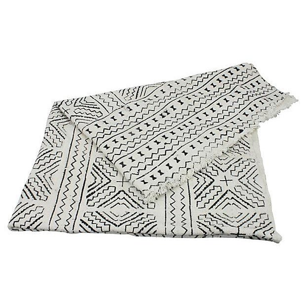 African Mud Cloth White & Black Throw - Image 2 of 4
